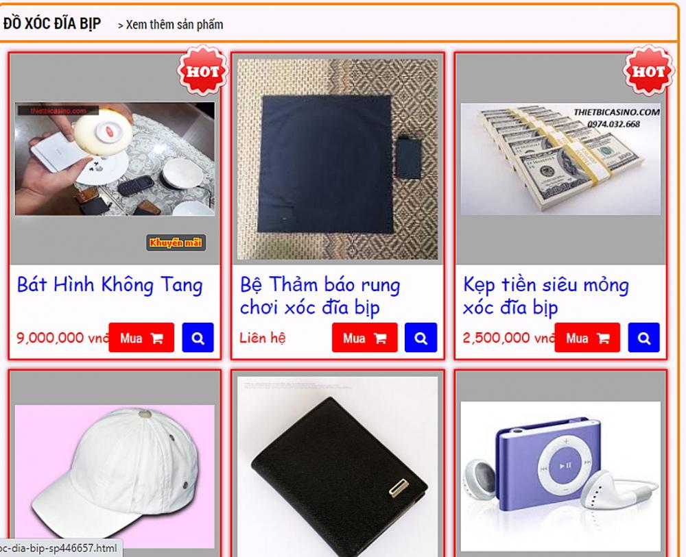 Việc rao bán các thiết bị đánh bạc gian lận diễn ra công khai trên mạng