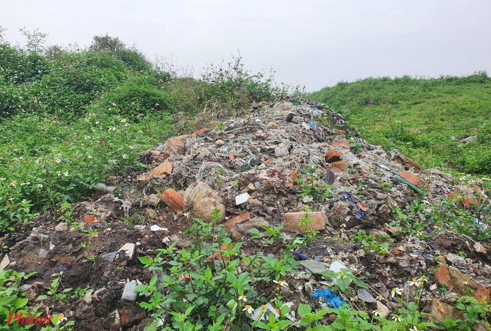 Rác thải chất cao như ngọn đồi, cỏ cây mọc um tùm sau nhiều năm bị lãng quên