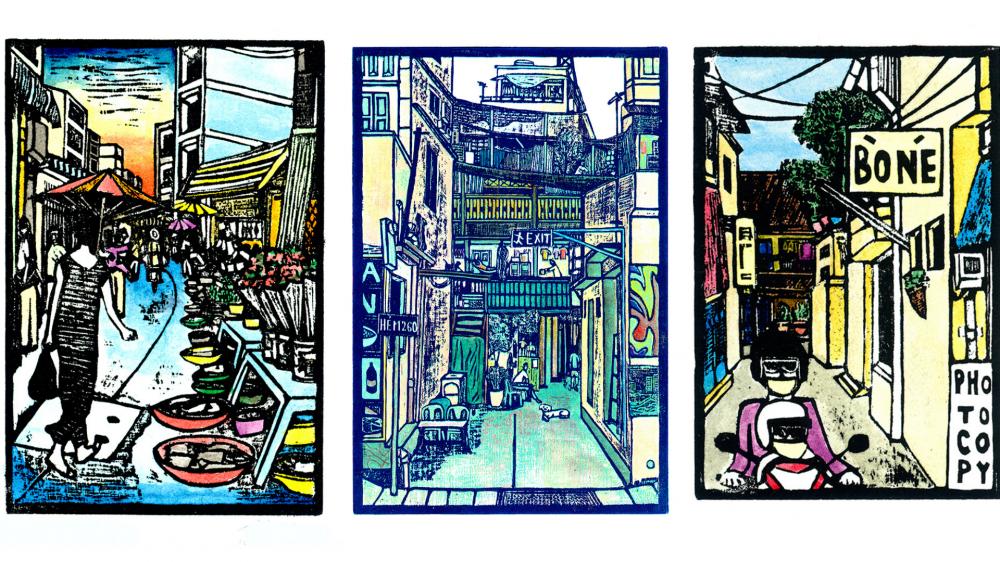 Đa số tranh in khắc gỗ của Jack đều lấy cảm hứng đường phố Sài Gòn.