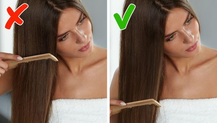 1. . Bạn chải tóc sai hướng Việc di chuyển chiếc lược từ trên xuống dưới có thể kéo căng sợi tóc của bạn ra khỏi nang và dẫn đến tình trạng hư tổn, gãy rụng. Cách tốt nhất là nên chải nhẹ phần rối gỡ ra trước rồi mới chải từ trên xuống dưới. Kỹ thuật hiệu quả nhất là chia tóc thành nhiều phần và gỡ rối ở từng phần riêng biệt.