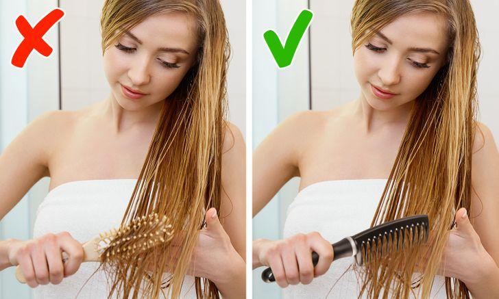 4. Bạn sử dụng cùng 1 chiếc lược để chải tóc ướt và tóc khô Tóc khi còn ướt rất dễ gãy rụng nên việc dùng lược chải không đúng loại có thể làm tình trạng hư tổn thêm trầm trọng. Dụng cụ tốt nhất để chải tóc ướt là một chiếc lược răng thưa, còn với tóc khô bạn có thể sử dụng một chiếc lược khác.