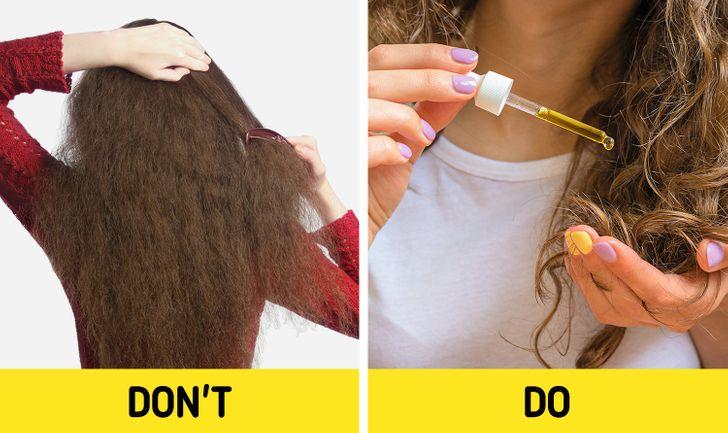 6. Chải tóc quá mạnh: Các chuyên gia chăm sóc tóc khuyên bạn nên tránh chải tóc xoăn khi tóc khô và trước đó hãy sử dụng xịt khử rối. Bạn cũng có thể dùng dụng cụ tách nếp và nhẹ nhàng tách các lọn tóc ra mà không cần dùng lực quá mạnh. Chải tóc quá mạnh có thể dẫn đến tóc bị hư tổn và gãy rụng nhiều hơn.