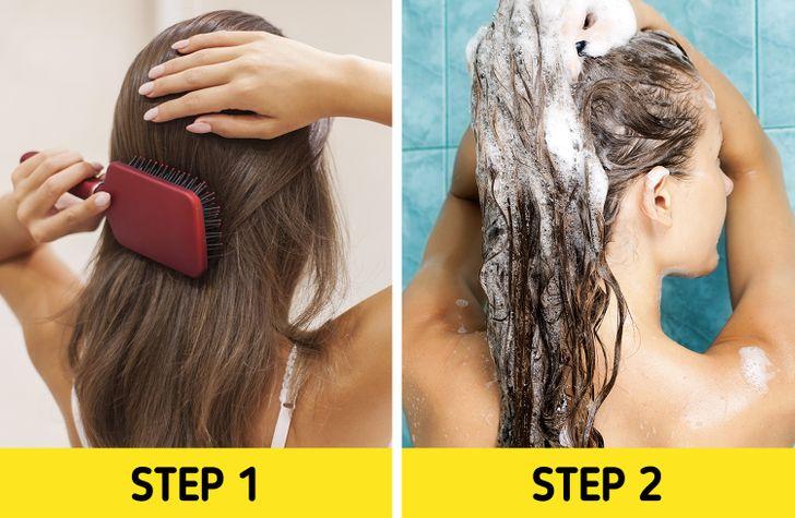 7. Bạn không chải tóc trước khi gội đầu Việc chải tóc trước khi tắm có thể giúp tóc tránh bị khô rối. Sau đó, bạn nhẹ nhàng xoa bóp dầu gội lên da đầu thay vì chà xát sẽ tránh được tình trạng rối tóc khi xả nước.