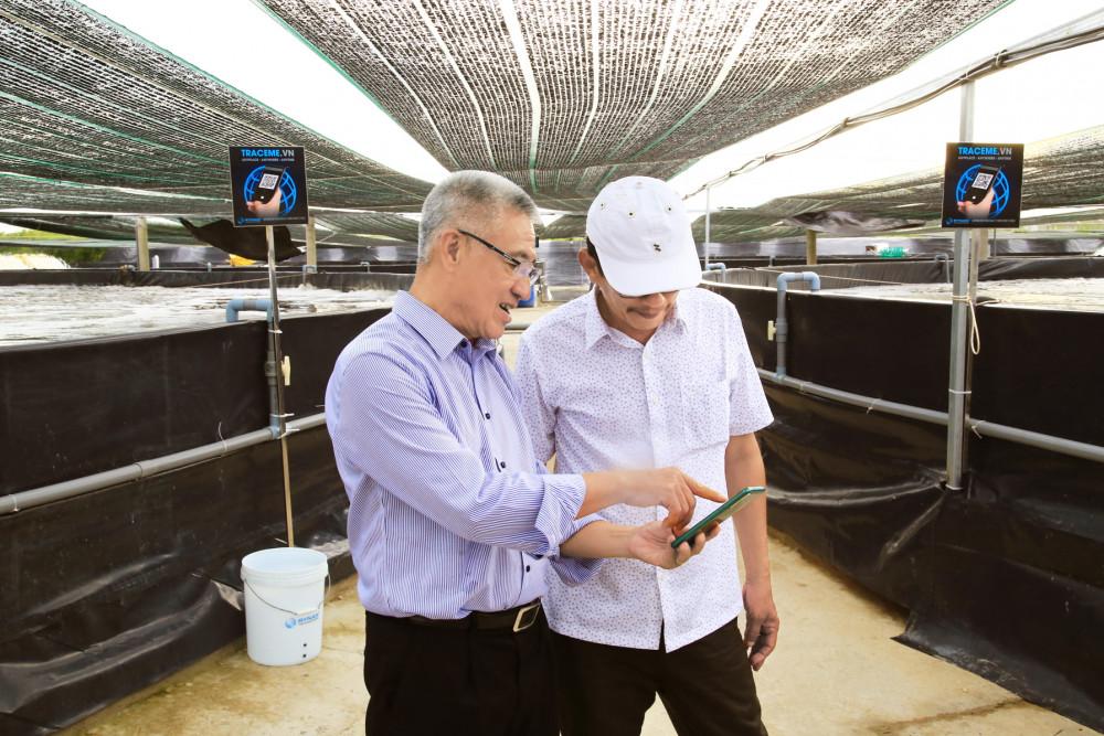 Ông Nguyễn Thanh Mỹ hướng dẫn nông dân theo dõi quy trình nuôi tôm trên điện thoại thông minh