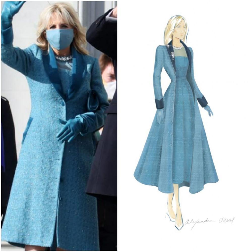 Tương tự ông Biden, đệ nhất phu nhân cũng dùng chính chất liệu trang phục may đồng bộ chiếc khẩu trang và đôi găng tay. Theo một thông cáo báo chí do nhà thiết kế đưa ra, màu xanh lam được chọn để biểu thị sự tin tưởng, tự tin và ổn định.