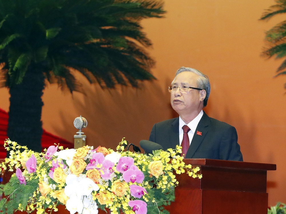 Thường trực Ban Bí thư Trần Quốc Vượng phát biểu tại phiên trù bị Đại hội XIII của Đảng