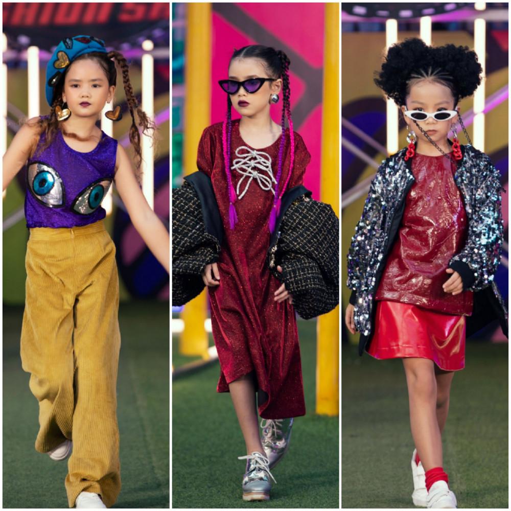 Bên cạnh Thanh Hằng và H'Hen Niê, 100 gương mặt mẫu nhí từ học viên Pink House cũng mang đến chương trình những bộ sưu tập độc đáo chưa từng có theo phong cách trendy - rap - hiphop.