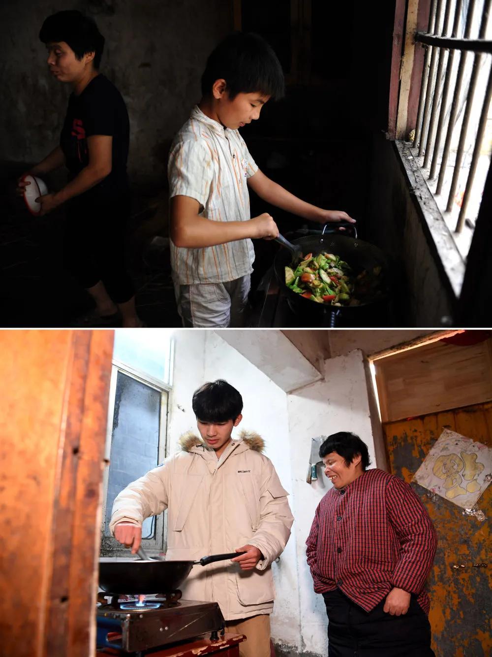 Cheng Jiu và mẹ của anh ấy đang nấu ăn trong nhà bếp của ngôi nhà cũ (ảnh chụp ngày 15 tháng 7 năm 2014); ảnh dưới đây: Cheng Jiu và mẹ anh ấy đang chuẩn bị bữa trưa trong nhà bếp của ngôi nhà cho thuê (ảnh chụp ngày 24 tháng 1). Ảnh của Tân Hoa Xã phóng viên Liu Junxi