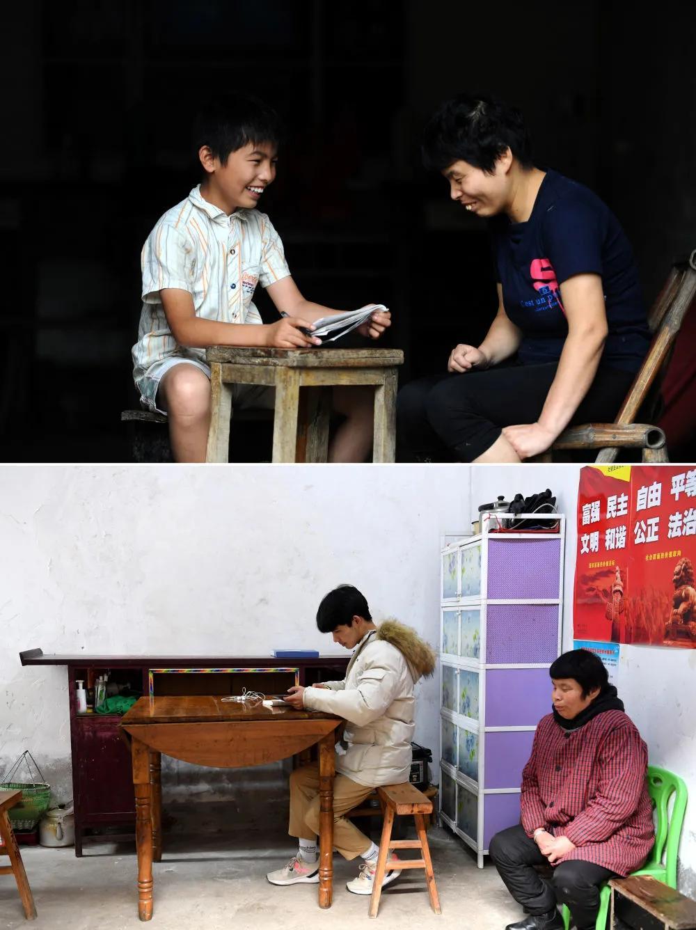 Hình trên là: Cheng Jiu đang làm bài tập hè với mẹ (chụp ngày 15 tháng 7 năm 2014); hình bên dưới là: Cheng Jiu đang ôn bài ở nhà (chụp ngày 24 tháng 1). Ảnh của Tân Hoa Xã phóng viên Liu Junxi