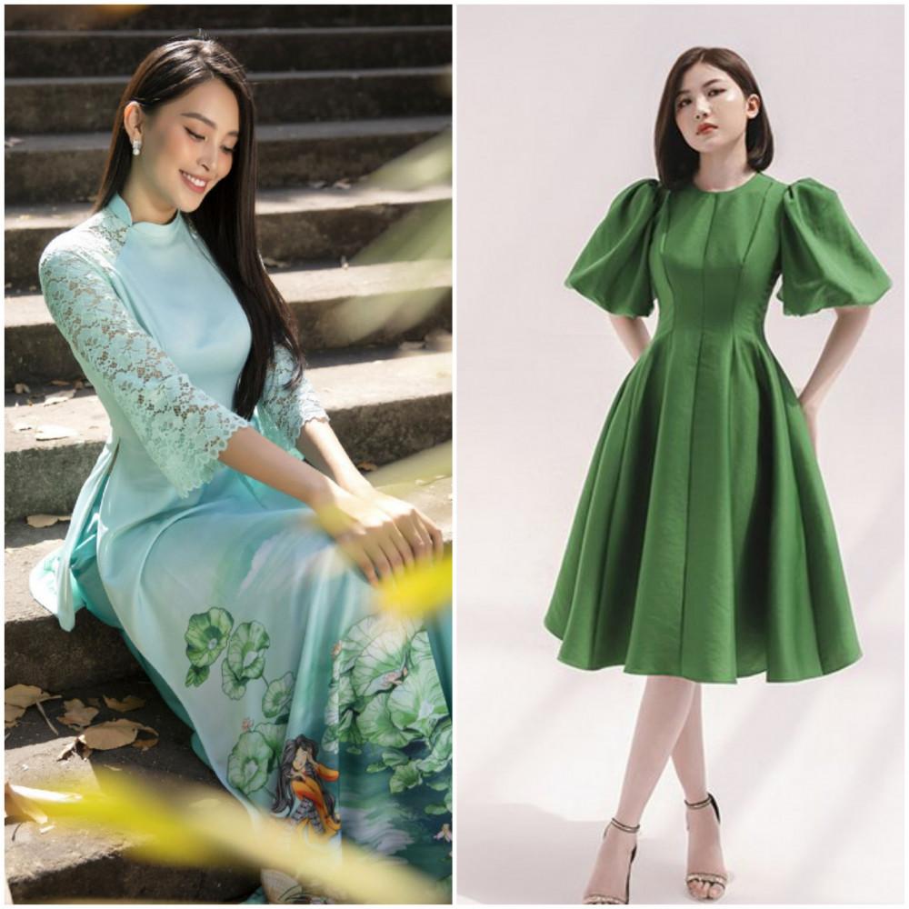 Tùy vào tông da, các bạn có thể lựa chọn trang phục xanh lục với sắc thái đậm nhạt khác nhau.