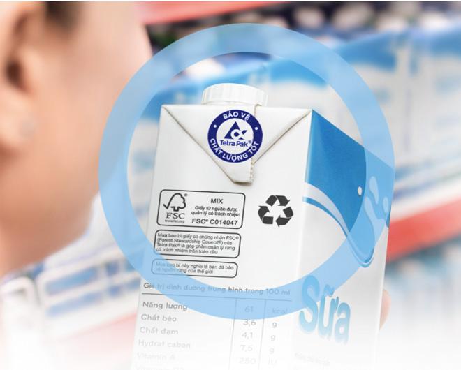 Logo Tetra Pak được in rõ trên bao bì - xác tín chất lượng đóng gói hàng đầu Việt Nam