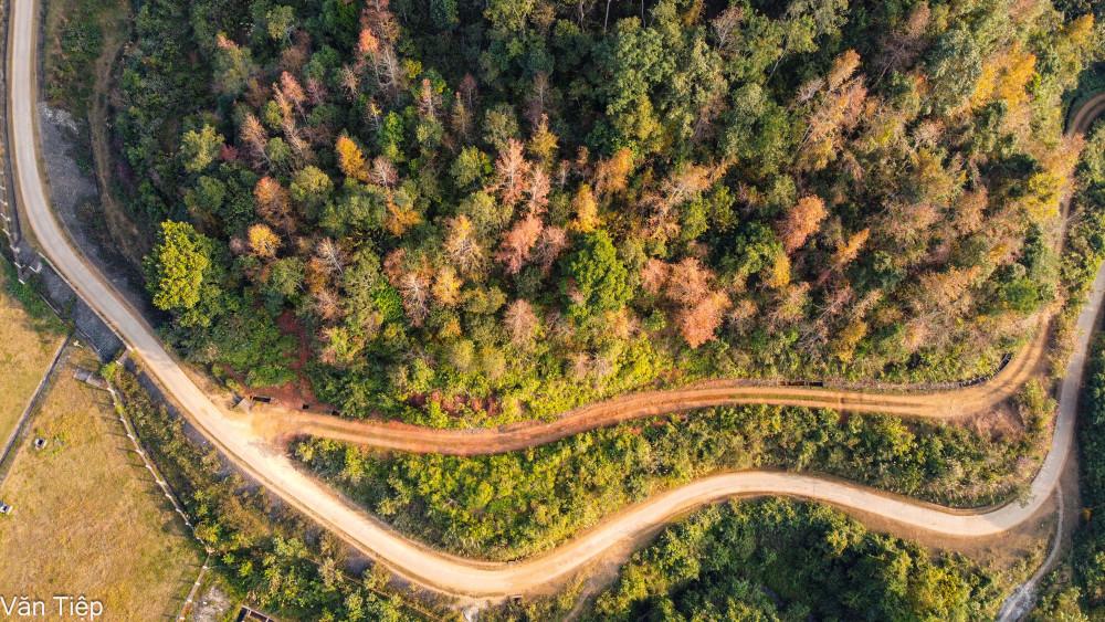 Con đường lên hồ được bê tông hóa sạch đẹp uốn lượn bên những hàng cây đầy màu sắc