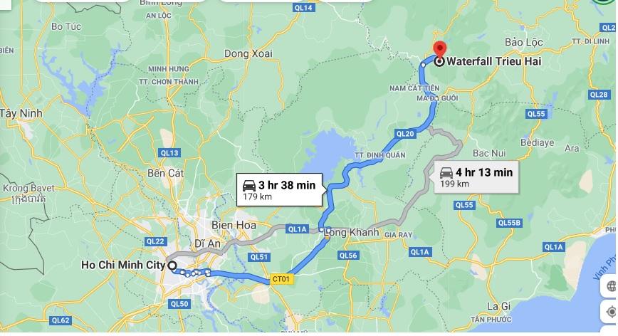 Đường đi thác Triệu Hải từ TPHCM. Ảnh chụp màn hình Google Map