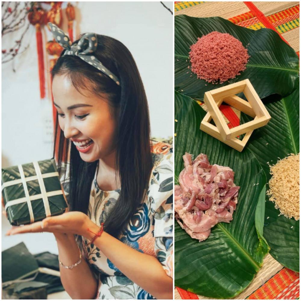 MC Thanh Vân chăm chú gói bánh. Cô cẩn thận buộc lạt thặt chặt để khi nấu bánh không bị sống và vô nước làm nhão bánh.