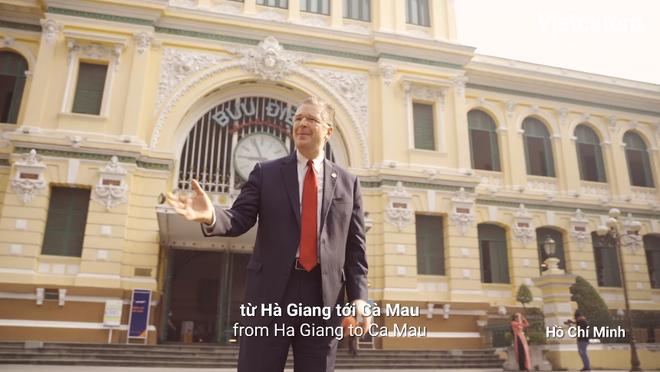 Bưu điện TP. Hồ Chí Minh xuất hiện trong đoạn video của đại sứ Mỹ tại Việt Nam - Ảnh cắt từ clip