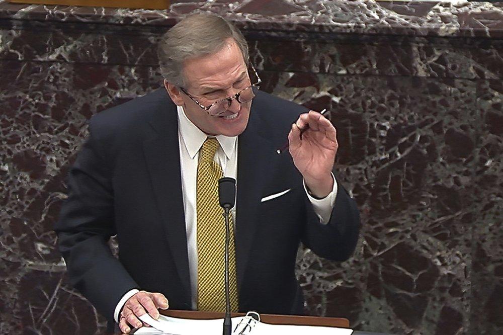 Michael van der Veen, luật sư cho cựu Tổng thống Donald Trump, phát biểu trong phiên tòa luận tội Trump lần thứ hai tại Thượng viện hôm 12/2