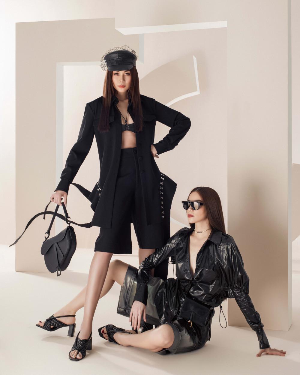 Túi bao tử thời thượng của Dior được Thanh Hằng, Hồ Ngọc Hà kết hợp đồng điệu với hai bộ cánh lấy tông đen làm chủ đạo.