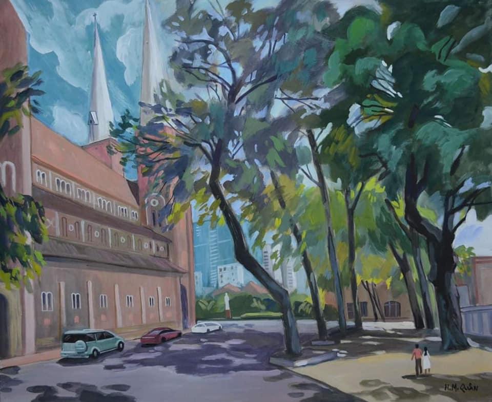 Nhà thờ Đức Bà nhìn từ công viên 30/4.