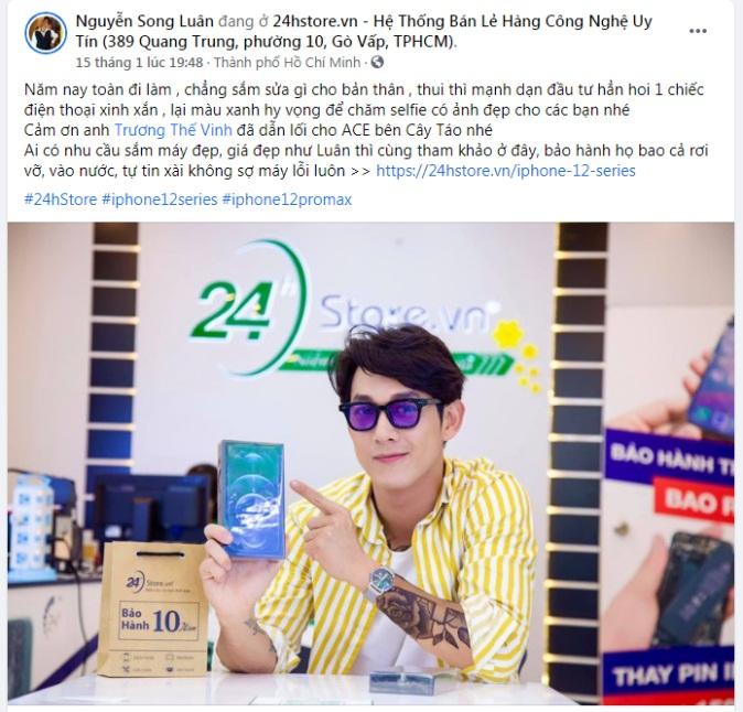 Song Luân đăng tải hình ảnh mua sắm lên mạng xã hội Facebook, gửi lời cảm ơn Trương Thế Vinh đã giới thiệu cho nam ca sĩ biết đến 24hStore. Ảnh: 24hStore cung cấp
