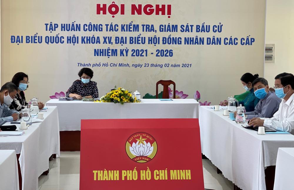 Điểm cầu TPHCM tại Hội nghị tập huấn công tác kiểm tra, giám sát bầu cử.