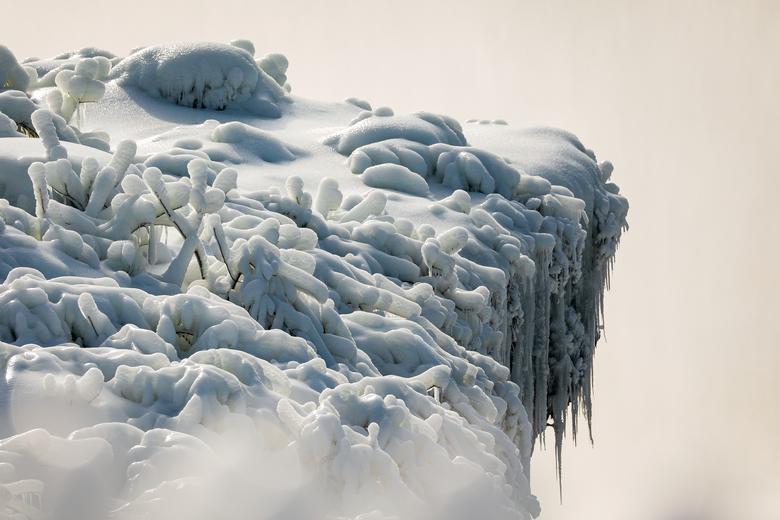 Băng tuyết phủ cây cỏ bên bờ vực thuộc thác Horseshoe. Thác Niagara có giá trị về du lịch và khai thác thuỷ điện.