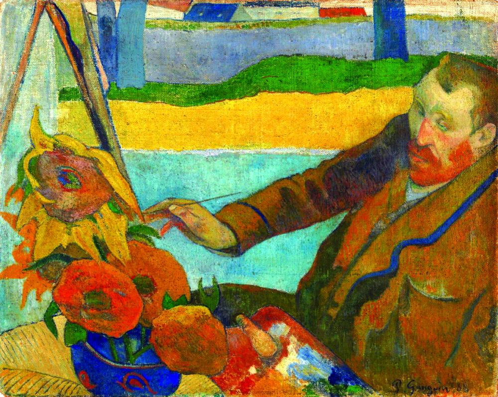 """Tác phẩm của Paul Gauguin thể hiện """"Vincent van Gogh vẽ hoa hướng dương"""" thực hiện vào năm 1888, trong chuyến thăm van Gogh tại Arles"""