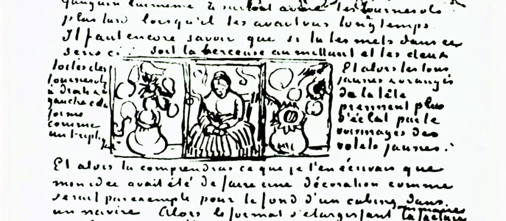 Bản ký họa trong một bức thư của Vincent van Gogh cho thấy hai phiên bản Hoa hướng dương  kết hợp cùng tác phẩm Người phụ nữ đưa nôi