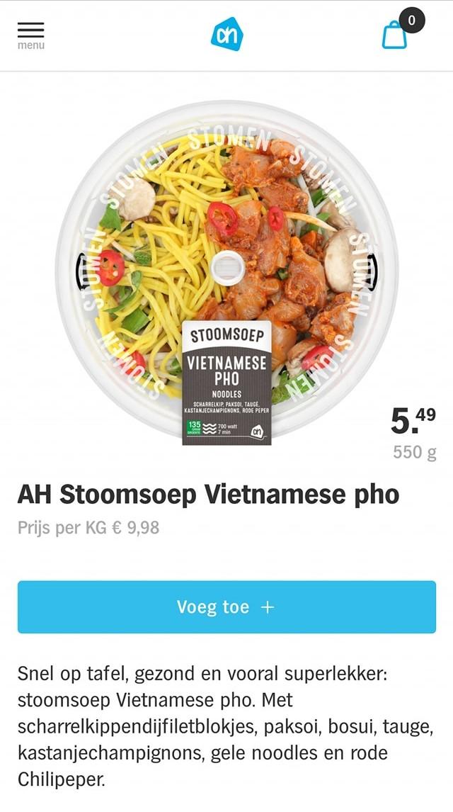 Sản phẩm Phở Việt Nam được siêu thị AH bán ra với giá 9.98 Euro (khoảng 280.000 đồng)