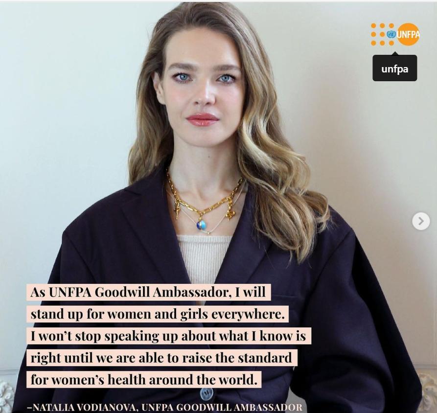 Siêu mẫu người Nga Natalia Vodianova vừa trở thành Đại sứ thiện chí của UNFPA