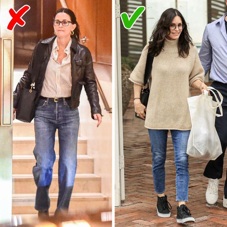 2. Mặc skinny jeans:Chọn quần jean bó. Sự trở lại của mẫu quần jean ống xuông được nhiều người đón nhận. Thế nhưng không thể phủ nhận dáng quần đó khá khó phối đồ. Khắc phục nhược điểm trên, mẫu quần bó mang lại vẻ ngoài thon gọn, trẻ trung.