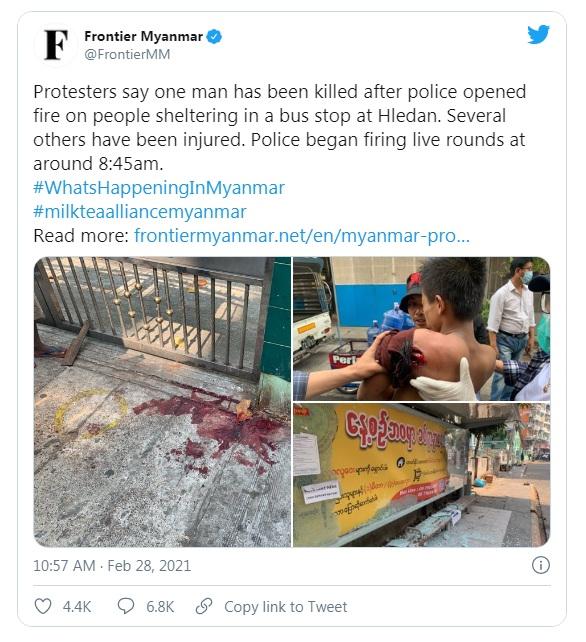 Nhóm truyền thông Frontier Myanmar cho biết một người đàn ông đã thiệt mạng tại Hledan, Yangon vào snag1 28/2 sau khi cảnh sát nổ súng vào một trạm xe buýt