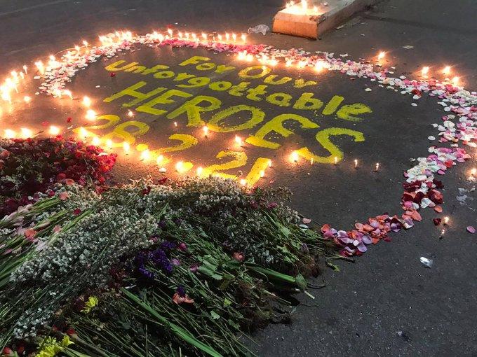 Thông điệp tưởng niệm những người biểu tình thiệt mạng tại Myanmar hôm 28/2 trên đường phố Yangon