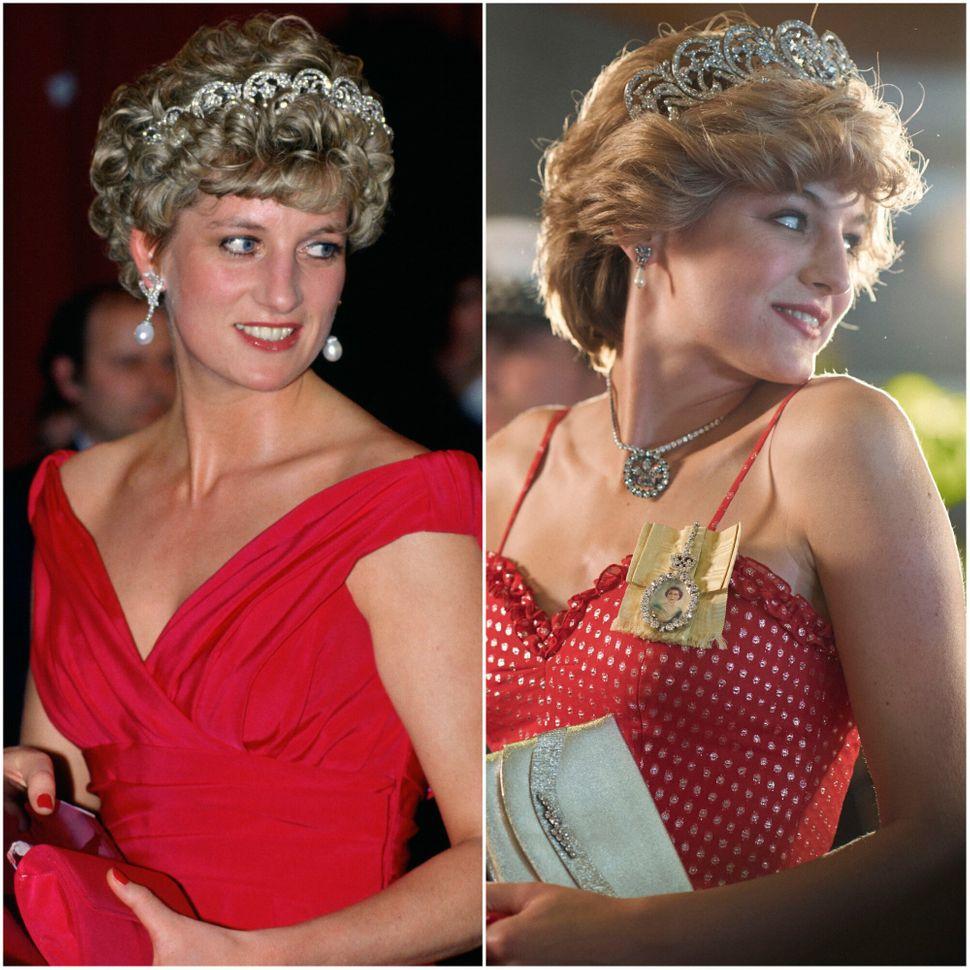 Emma Corrin (trái) và công nương Diana (phải) được cho là có ngoại hình khá giống nhau.