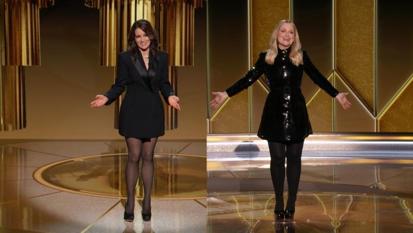 2 nữ diễn viên Tina Fey và Amy Poehler đảm nhận vai trò người dẫn chương trình tại 2 địa điểm