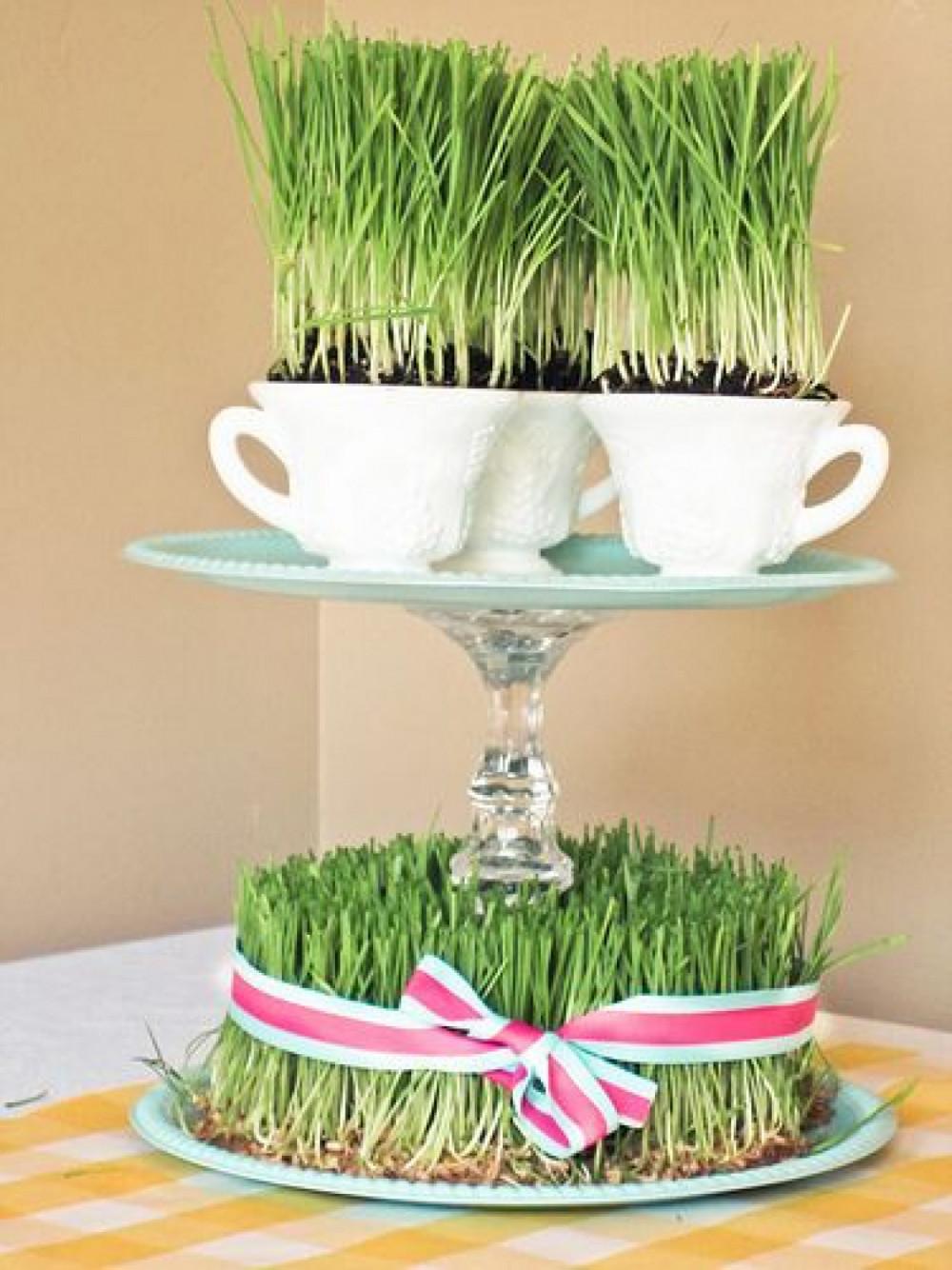Hình 4.  Chiếc bánh gato cỏ lúa mì kết hợp với đĩa tầng đựng tách trà là một ý tưởng sáng tạo trang trí phòng khách thu hút.