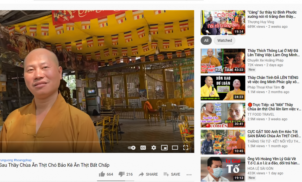 Rất nhiều kênh Youtube đăng tải clip về ông Nguyễn Minh Phúc cùng những phát ngôn phản cảm