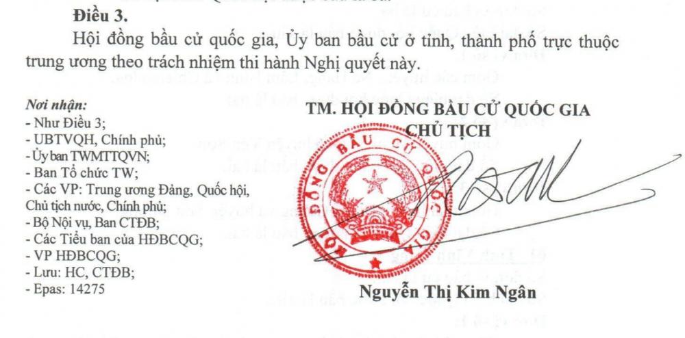 Nghị quyết 64/NQ-HĐBCQG công bố 184 đơn vị bầu cử trên cả nước, TPHCM có 10 đơn vị bầu cử.