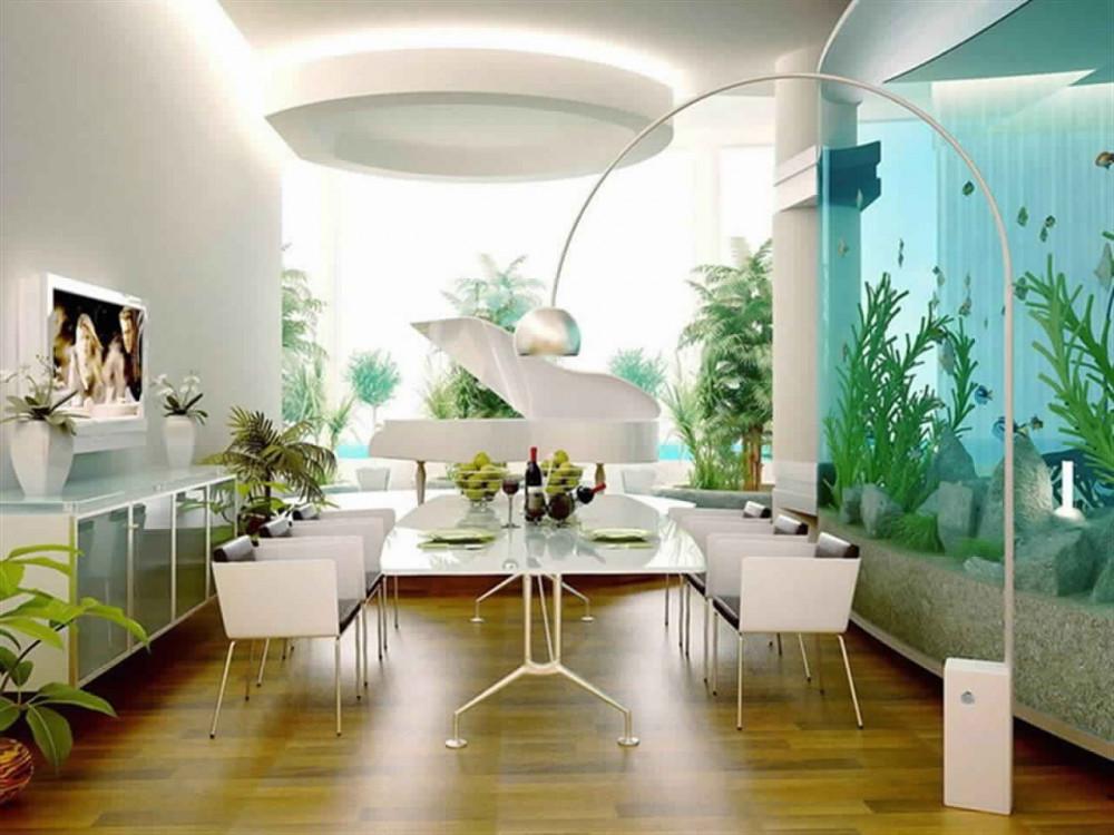 Hình 6. Phòng ăn hiện đại tinh tế với bức tường được làm bằng bể cá lớn tạo ra tâm trạng thoải mái, thư giãn như đang thưởng thức bữa tối bên bờ biển lãng mạn.