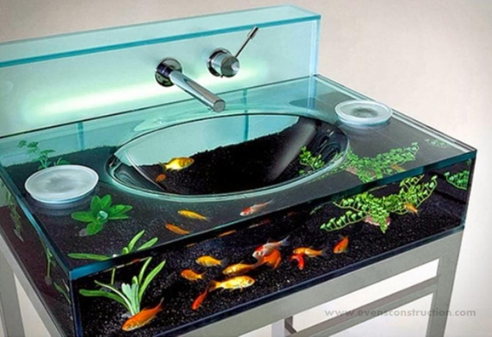 Hình 9. Bồn rửa tay thủy sinh là ý tưởng độc đáo, mang đến sự mới mẻ, bất ngờ và sảng khoái.
