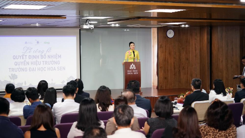 PGS.TS Võ Thị Ngọc Thuý, Quyền Hiệu trưởng Trường ĐH Hoa Sen trong buổi nhậm chức