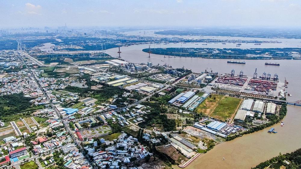 Một góc Khu đô thị Cảng Hiệp Phước, huyện Nhà Bè, TPHCM giáp với huyện Cần Giuộc, tỉnh Long An đang trong quá trình quy hoạch, phát triển