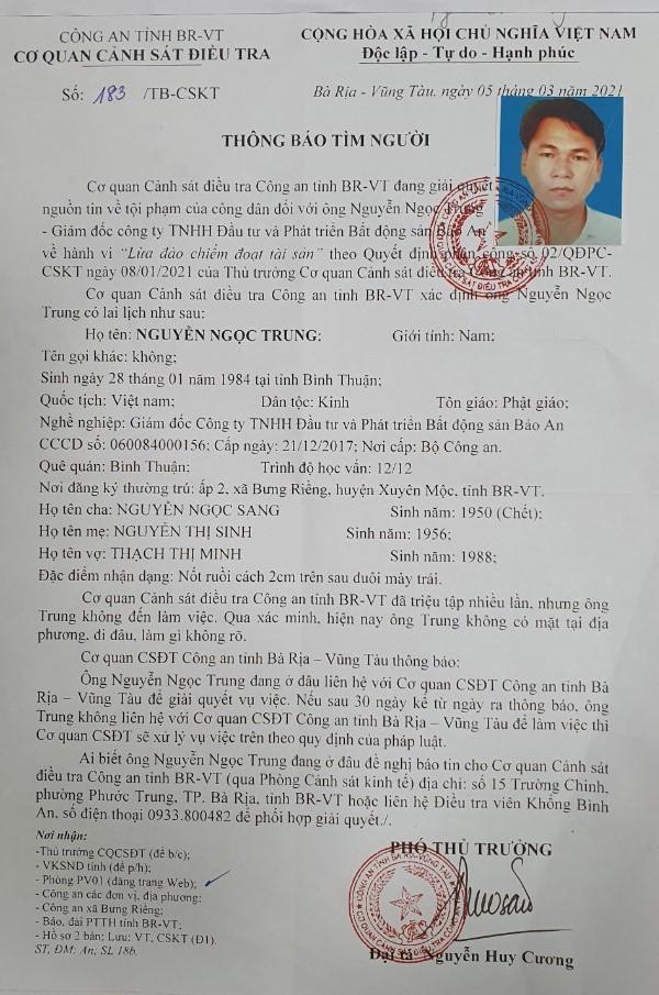 Thông báo tìm ông Nguyễn Ngọc Trung - Giám đốc Công ty