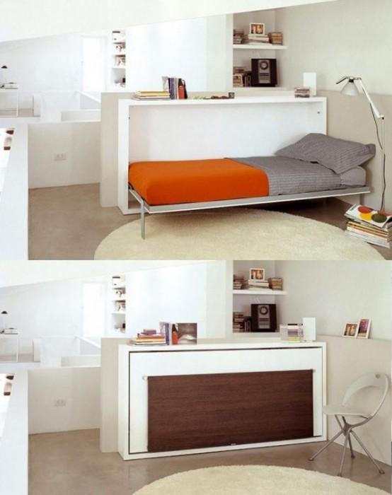 Hình 9. Một chiếc giường Murphy được tích hợp vào bàn làm việc là một ý tưởng tuyệt vời để giấu giường khi không cần thiết và đồng thời có một chiếc bàn thoải mái