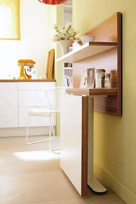 Hình 4. Thiết kế bàn ăn treo tường gấp và một số kệ trên là một lựa chọn tuyệt vời cho một căn bếp nhỏ
