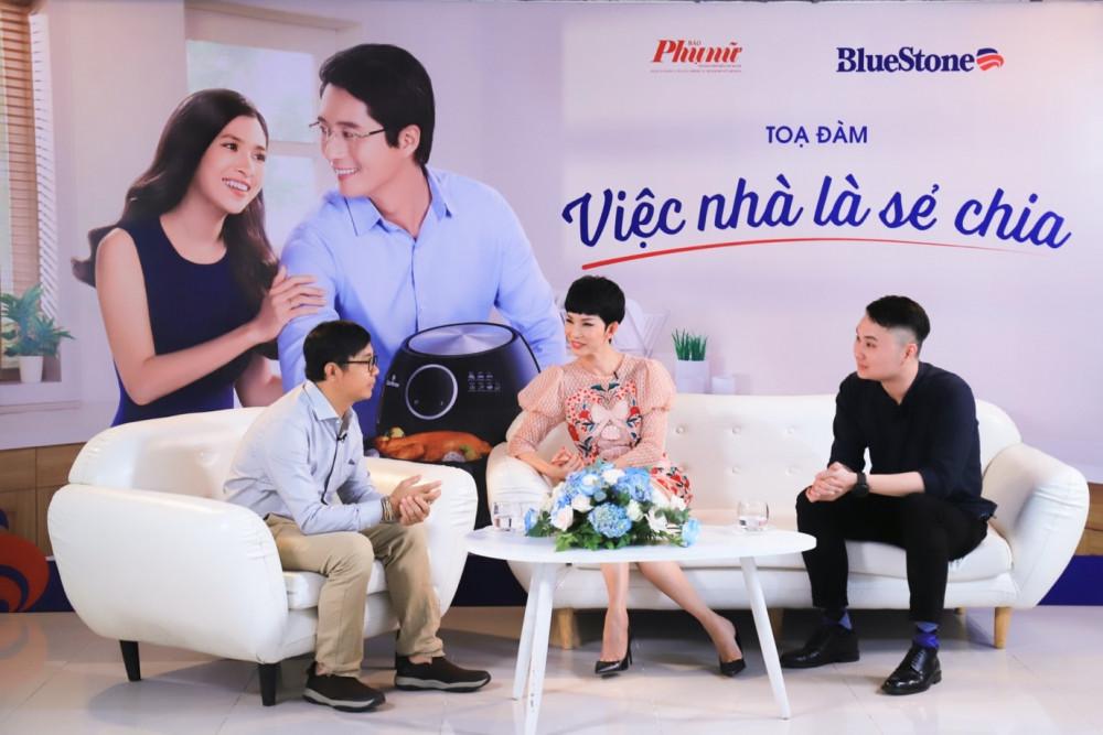 Từ trái sang phải: Chuyên gia tâm lý Ngô Minh Uy; diễn viên/người mẫu Xuân Lan; anh Lê Hoàng, đại diện BlueStone