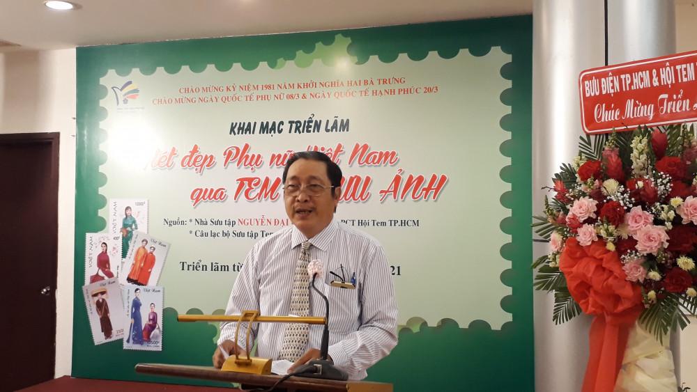 Nhà sưu tập Nguyễn Đại Hùng Lộc – Phó Chủ tịch Hội Tem TP. HCM phát biểu tại buổi khai mạc triển lãm