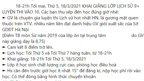 Quảng cáo về luyện thi môn sử vào lớp 10 của một trung tâm tại Hà Nội