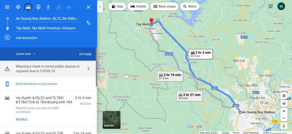 Hướng di chuyển từ TPHCM - Tây Ninh. Ảnh chụp màn hình.