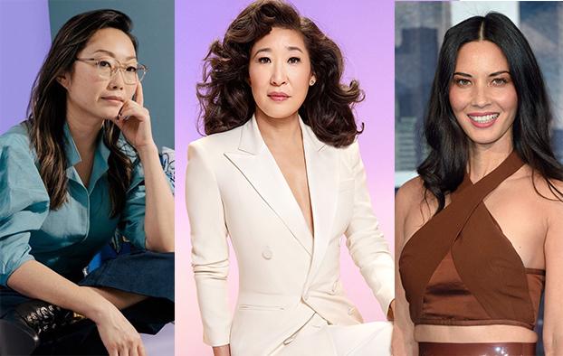 Từ trái sáng, đạo diễn Lulu Wang, diễn viên Sandra Oh và Olivia Munn là những nghệ sĩ lên tiếng bảo vệ người Mỹ gốc Á.