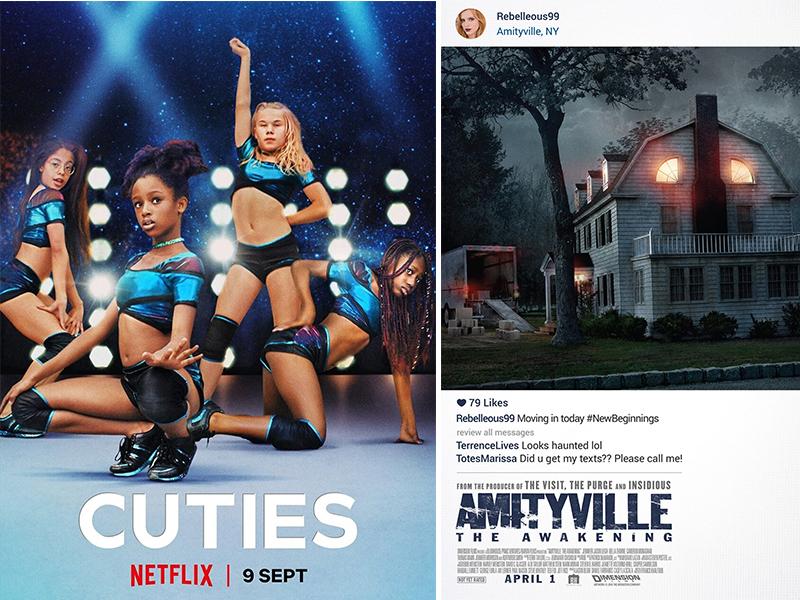 Cuties (trái) có lẽ là poster gây tranh cãi nhất trong năm 2020 khi khai mào cho làn sóng tẩy chay phim vì mang đậm tính gợi dục. Next ngay lập tức xin lỗi và dừng sử dụng poster này trong quá trình quảng bá.